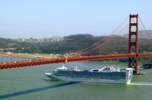 Cruise Ship Under Golden Gate bridge