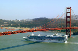 Cruise Ship Under Golden Gate bridge